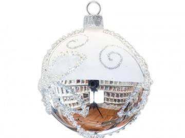 Vánoční koule stříbrná, spirálka perlička