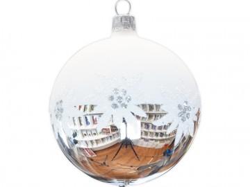 Vánoční koule stříbrná, kvítek