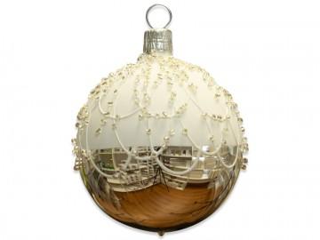 Vánoční koule stříbrná, perličky
