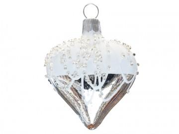 Vánoční srdce stříbrné, perličky