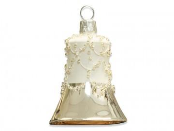 Vánoční zvonek stříbrný, perličky