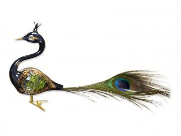 Skleněný ptáček paví pero