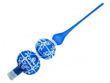 Vánoční špice modrá tmavá, dekor krajka