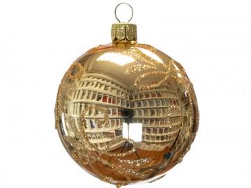 Vánoční koule zlatá světlá, lístky