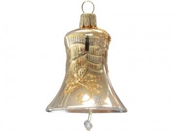 Vánoční zvonek světle zlatý, lístky