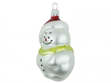 Skleněná figurka sněhulák, perleťová