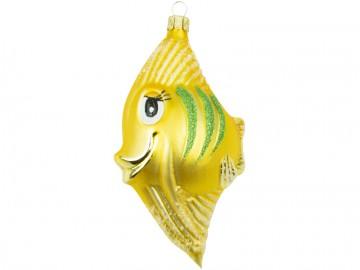 Skleněné zvířátko ryba, žlutá tmavá