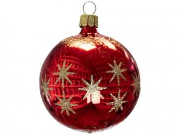 Vánoční koule červená, hvězdička