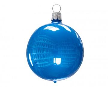 Vánoční koule modrá světlá, porcelánový odlesk
