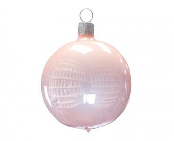 Vánoční koule pudrová, porcelánový odlesk