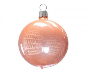 Vánoční koule meruňková, porcelánový odlesk