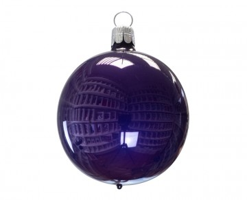 Vánoční koule fialová tmavá, porcelánový odlesk