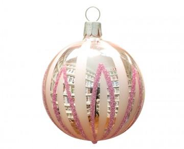 Vánoční koule pudrová, čáry