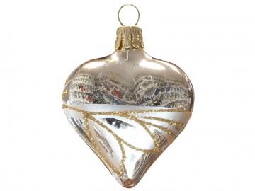 Vánoční srdce šampáňo, lístky