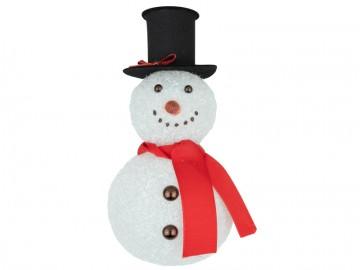 Skleněná figurka sněhulák, bílý