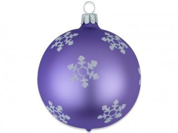 Vánoční koule světle fialová, vločka