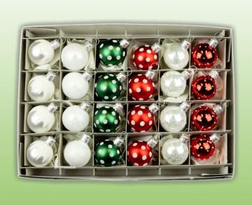 Sada vánočních ozdob, mix 3cm kuliček