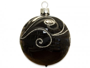 Vánoční koule černá, spirálka