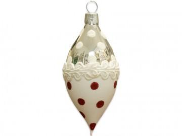Vánoční oliva stříbrná, krajka puntík