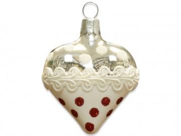 Vánoční srdce stříbrné, krajka puntík
