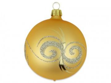 Vánoční koule tmavě zlatá, spirálka