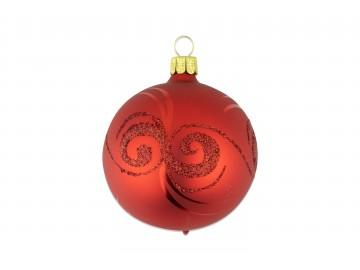 Vánoční koule červená, spirálka