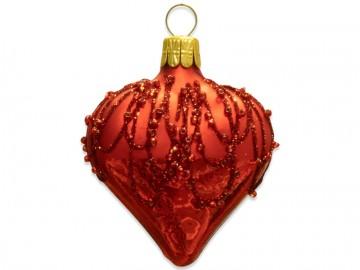 Vánoční srdce červené, perličky