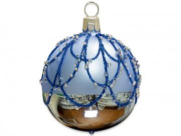 Vánoční koule bleděmodrá, perličky
