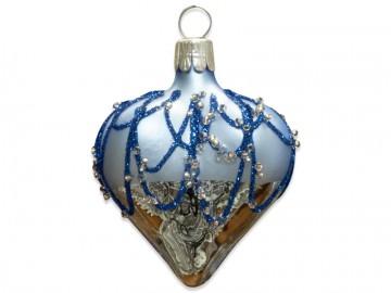 Vánoční srdce bleděmodré, perličky