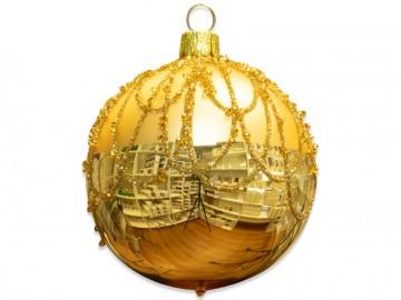 Vánoční koule světle zlatá, perličky