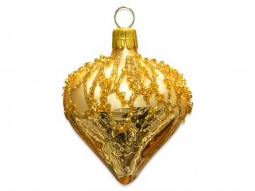 Vánoční srdce světle zlaté, perličky