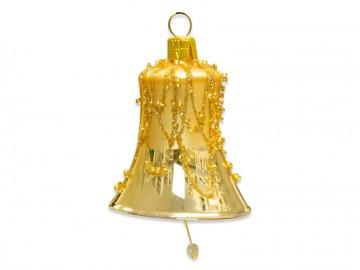 Vánoční zvonek světle zlatý, perličky