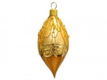 Vánoční oliva světle zlatá, perličky