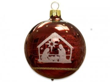 Vánoční koule bordó, dětský motiv