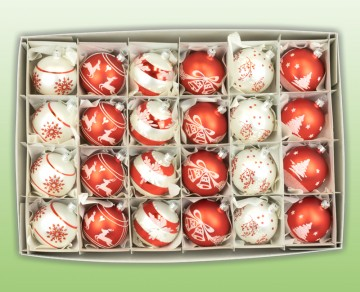 Sada vánočních ozdob, červená