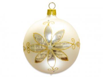 Vánoční koule perleťová, květ