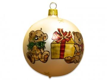 Vánoční koule šampáňo, dětský motiv
