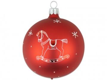 Vánoční koule červená, dětský motiv