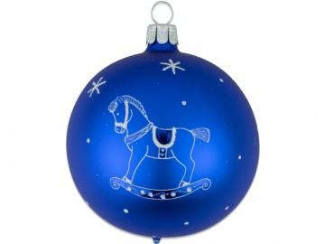 Vánoční koule modrá, dětský motiv