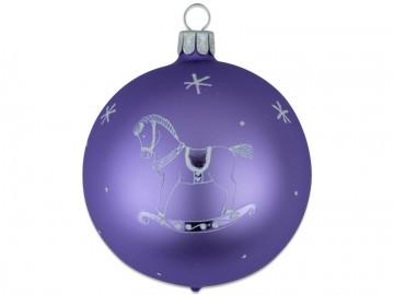 Vánoční koule světle fialová, dětský motiv