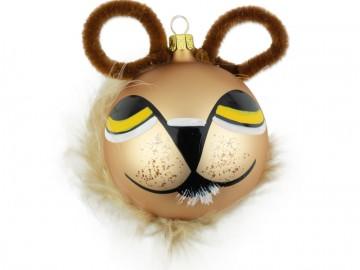 Skleněná figurka hlava lva, čokoládová