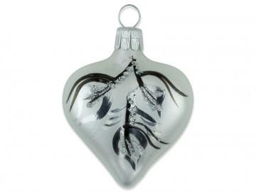 Vánoční srdce perleťové, větvička