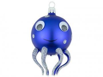 Skleněné zvířátko chobotnice, modrá