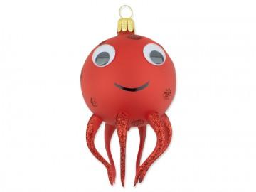 Skleněné zvířátko chobotnice, červená
