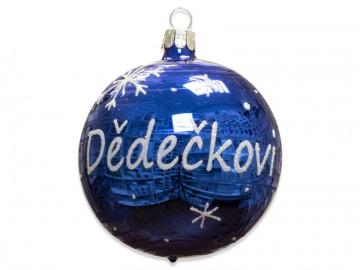 Vánoční koule modrá, koule se jménem dědečkovi