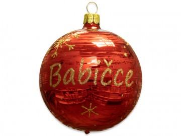 Vánoční koule červená , koule se jménem babičce