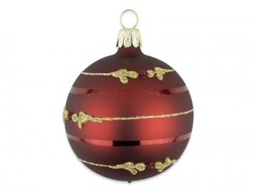 Vánoční koule bordó, lístek