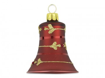 Vánoční zvonek bordó, lístek