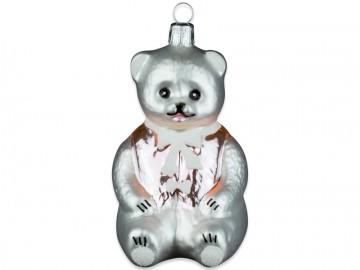 Skleněná figurka medvídek, perleťová
