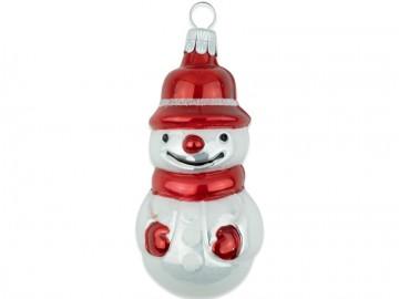 Skleněná figurka sněhulák, porcelánová